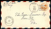 MAYFAIRSTAMPS US 1943 U.S. NAVY WWI CENSORED COVER TO GRONE CITY PENNSYLVANIA
