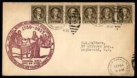 MAYFAIRSTAMPS US 1932 GEORGE WASHINGTON BICENTENNIAL 1/2 CENT RATE ROW COVER CAC