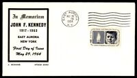 MAYFAIRSTAMPS US 1964 MEMORIAL  JOHN F. KENNEDY EAST AURORA NEW YORK A FIRST DAY