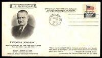 MAYFAIRSTAMPS US 1973 LYNDON B. JOHNSON CACHET ON WASHINGTON DC FIRST DAY COVER