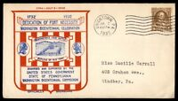 MAYFAIRSTAMPS US 1932 DEDICATION OF FORT NECESSITY 4 CENT DEDICATION COVER WITH