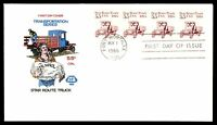 MAYFAIRSTAMPS US 1986 FARNUM STAR ROUTE TRUCK COIL STRIP 5.5C FDC