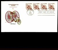 MAYFAIRSTAMPS US 1985 FARNUM TRICYCLE COIL STRIP OF 4 6C FDC