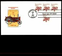 MAYFAIRSTAMPS US 1987 FARNUM TRACTOR COIL STRIP 7.1C FDC