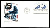 MAYFAIRSTAMPS US 1986 FARNUM DOG SLED COIL PAIR 17C FDC