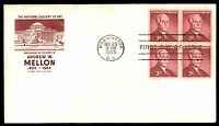 MAYFAIRSTAMPS US 1955 FARNUM ANDREW W MELLON BLOCK 3C FDC
