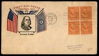 MAYFAIRSTAMPS US FDC 1938 PHILA PA MAY 19TH BENJAMIN FRANKLIN BLOCK FIDELITY 1/2
