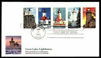 MAYFAIRSTAMPS US FDC 1995 GREAT LAKES LIGHTHOUSES BOOKLET PANE S11111 FLEETWOOD