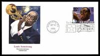 MAYFAIRSTAMPS US FDC 1995 LOUIS ARMSTRONG SOTTUNG 32 UNADDRESSED UNSEALED FIRST