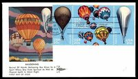 MAYFAIRSTAMPS US FDC 1983 HOT AIR BALLOONING BLOCK GILLCRAFT 20 UNADDRESSED UNSE