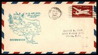 MAYFAIRSTAMPS US BROWNWOOD TX OCT 11 1947 FIRST FLIGHT AM 82 AIRMAIL COVER W/SAN