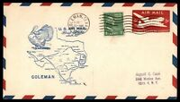 MAYFAIRSTAMPS US COLEMAN TX AUG 16 1949 FIRST FLIGHT AM 82 AIR MAIL COVER W/FT W