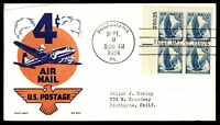 MAYFAIRSTAMPS US FDC 1954 PHILA PA SEP 3RD US 4C AIR MAIL PLATE BLOCK 25035 KEN