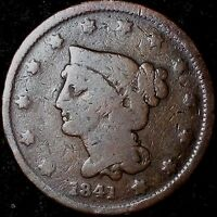 1841 1C NEWCOMB BRAIDED HAIR CENT ROC  & HANDLING