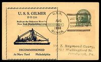 MAYFAIRSTAMPS USS GILBER LAST DAY IN COMMISSION 1938 NAVAL CARD AUG 31
