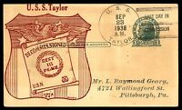 MAYFAIRSTAMPS USS TAYLOR 1938 DECOMMISSIONED NAVAL CARD RICHELL CACHET SEP 23