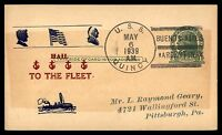 MAYFAIRSTAMPS USS QUINCY BUENOS AIRES 1939 NAVAL CARD HAIL TO THE FLEET