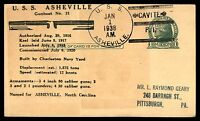 MAYFAIRSTAMPS USS ASHEVILLE CAVITE PHILIPPINES 1938 POSTAL CARD JANUARY 1