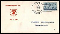 MAYFAIRSTAMPS USS HOPI JULY 17 1947 INDEPENDENCE DAY NAVAL COVER GOD BLESS AMERI