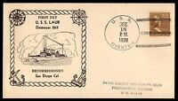 MAYFAIRSTAMPS USS OVERTON NAVAL COVER DEC 19 1939 FIRST DAY USS LAUB RECOMMISSIO