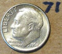 1962 D  ROOSEVELT DIME GREAT TONNING ALMOST UNC  71