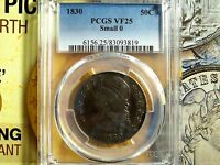 1830 50C CAPPED BUST HALF DOLLAR PCGS VF 25   SMALL 0