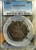 1859 50C LIBERTY SEATED HALF DOLLAR   PCGS VF 35