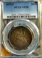 1875 S 50C LIBERTY SEATED HALF DOLLAR   PCGS VF 35