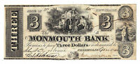 1841 THE MONMOUTH BANK NJ   THREE DOLLAR OBSOLETE NOTE NO.685