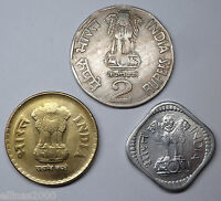 LOT INDIA  3 COINS 3 ERRORS     5 PAISE 1983  2 RUPEES 1993  5 RUPEES 2010