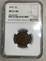 1870 2 CENT PIECE NGC MINT STATE 61 BN