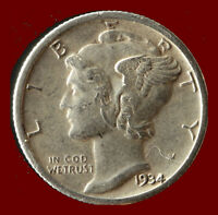 1934 D MERCURY 90 SILVER DIME SHIPS FREE. BUY 5 FOR $2 OFF
