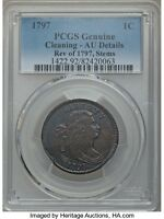 1797 DRAPED BUST LARGE CENT, PCGS GRADED AU DETAILS, RVSE OF 97,S-139,B-21, R-1