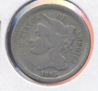 1865 NICKEL THREE CENT PIECE. 3 CENTS. VG. LOT2.