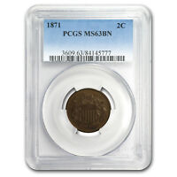 1871 TWO CENT PIECE MINT STATE 63 PCGS BROWN