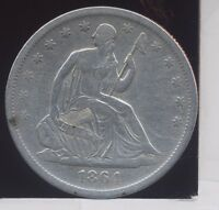 1864 S SEATED LIBERTY SILVER HALF DOLLAR. VF CLEANED/POLISHED BRIGHT.