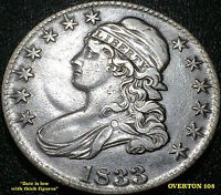 1833 CAPPED BUST HALF DOLLAR  O 108 ABOUT UNCIRCULATED