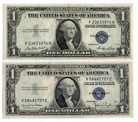1935D& 1935E $1 UNITED STATES SILVER CERTIFICATES BLUE SEAL NICE OLD CURRENCY