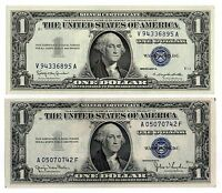 1935D& 1957B $1 UNITED STATES SILVER CERTIFICATES BLUE SEAL NICE OLD CURRENCY
