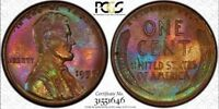 RAINBOW TONED 1957 LINCOLN CENT PCGS MS64 BOTH SIDES AMAZING COLORS