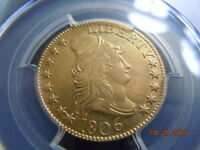 1806 POINTED 6,DRAPED BUST 5.00 GOLD HALF EAGLE PCGS  AU DETAILS,BD 1 R 4 8X5