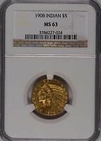 1908 $5 GOLD INDIAN HEAD NGC MS 63 176514