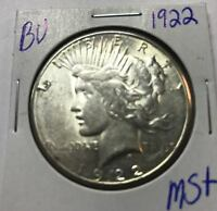 1922 SILVER PEACE DOLLAR   BU   UNCIRCULATED   BUY IT NOW   BEST OFFER $