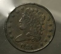 1834 CLASSIC HEAD HALF CENT -  -  ANTIQUE COIN - BUY IT NOW - BEST OFFER