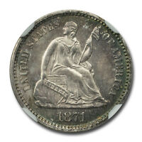 1871 SEATED HALF DIME H10C NGC MINT STATE 64