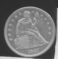 1843 SEATED LIBERTY SILVER DOLLAR. EXTRA FINE  CLEANED, BRIGHT.