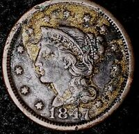 1847 1C BRAIDED HAIR LARGE CENT, CHT SHIPS FREE & HANDLING