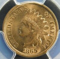 PCGS MINT STATE 64 RED1865 INDIAN HEAD CENT