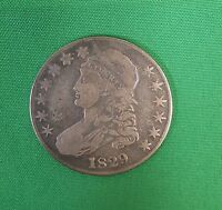 1829 CAPPED BUST SILVER HALF DOLLAR 50C COIN