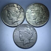 3 PEACE SILVER DOLLARS 1922 P D S LOT PDS MINT MARK SET
